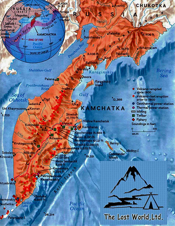 Map of Kamchatkan volcanoes (from web)