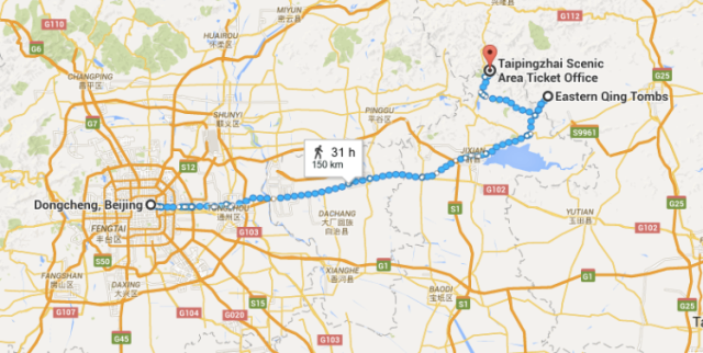 Map to Qing Tombs